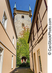 Narrow street leading to the Marien church tower in Warendorf