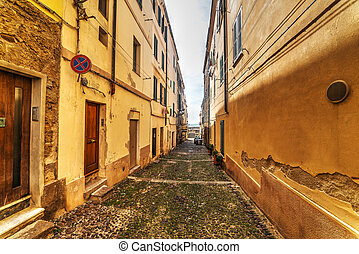narrow street leading to the sea