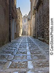 Narrow street of Erice town on Sicily