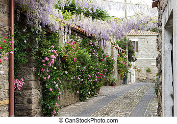Narrow street of flowers in a small town in Sardinia