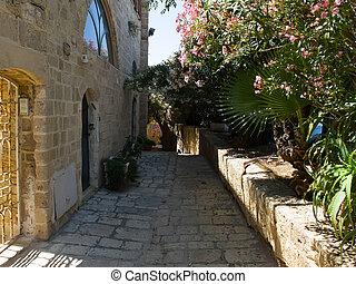 Narrow street of Jaffa old town, Israel