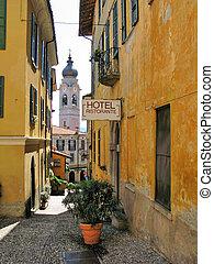 Narrow street of Menaggio, small town at the lake Como,...