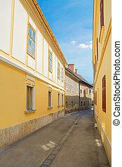 Narrow Street of old City of Szekesfehervar, Hungary