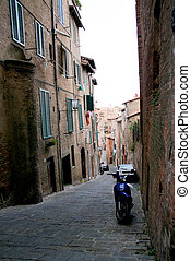 Narrow street of Siena, Italy