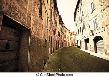 Narrow street of Siena.