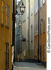 Narrow street - Narrow curving street with an array of...