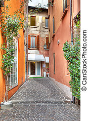 Narrow street. Sirmione, Italy. - Vertical oriented image of...