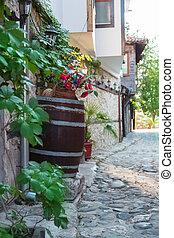 narrow street - historically narrow street with stone houses...
