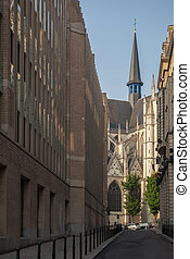 narrow street to the cathedral in Brussels