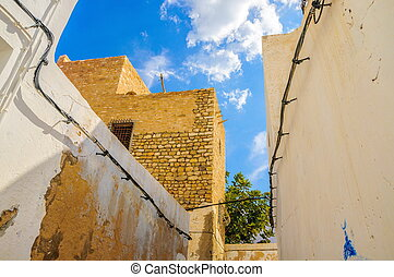 Narrow street with white houses in Hammamet Tunisia