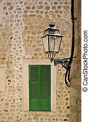 Narrow streets in Palma de Mallorca with typical ...