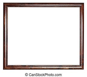 narrow vintage dark brown wooden picture frame