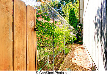 Narrow walkway behind the house leading to backyard area