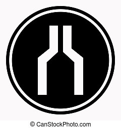 Narrowing of two roads warning attention symbol black circle...