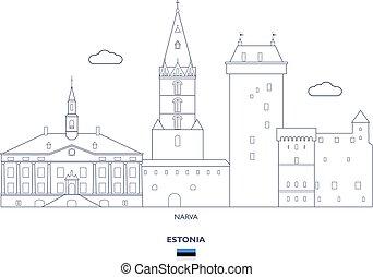 Narva City Skyline, Estonia - Narva Linear City Skyline,...