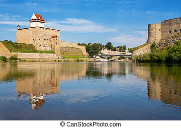 Narva river. Estonian-Russian Border, Europe - Hermann...
