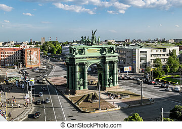 "Narva triumphal arch on the ""Stachek"" square..."