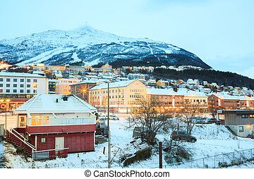 Narvik Town Cityscape at dusk, Norway