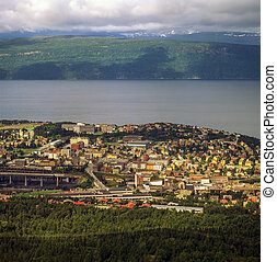 View of Narvik from hill in Norway