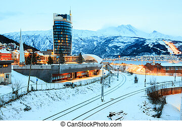 Narvik Town Square Cityscape at dusk, Norway