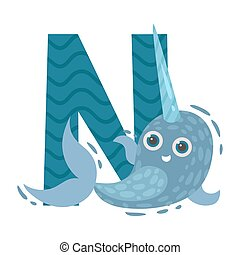 Narwhal with the letter N. Vector illustration on a white background.