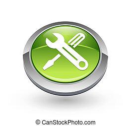 narzędzia, guzik, -, zielona kula