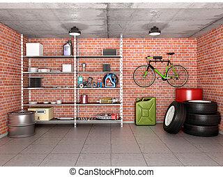 narzędzia, illustration., wyposażenie, garaż, wewnętrzny, wheels., 3d
