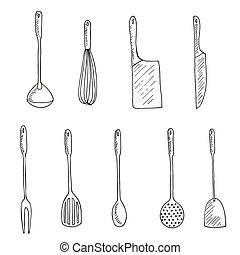 narzędzia, komplet, ilustracja, wektor, doodles, kuchnia