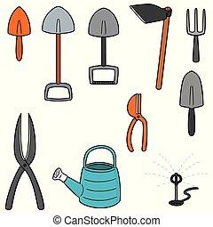 narzędzia, komplet, wektor, ogrodnictwo