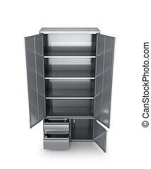 narzędzia, metal, ilustracja, gabinet, drzwi, documents., otwarty, 3d