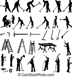 narzędzia, pracujące ludzie