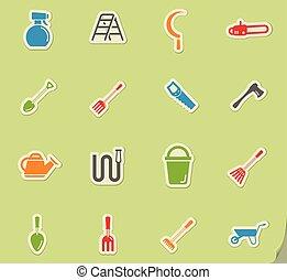 narzędzia, prosto, ogród, ikony
