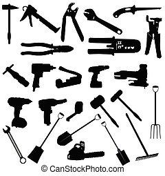 narzędzia, wektor, sylwetka, ilustracja