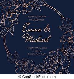 narzisse, karte, pfingstrose, elegant, rahmen, vektor, wedding, ereignis, design, template., flowers., runder , rose, einladung