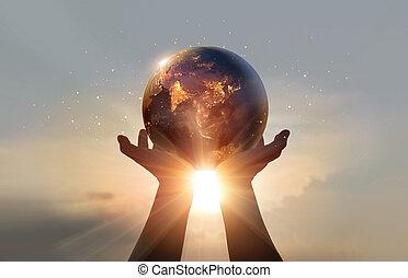 nasa, これ, 概念, hands., 要素, 地球, イメージ, 夜, エネルギー, 人間, 保有物, あった, セービング, day., 供給される