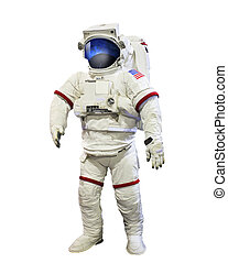 nasa astronaut pressure suit with galaxi space reflection on...
