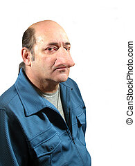Nasal Congestion, a man with a large nose, over white.