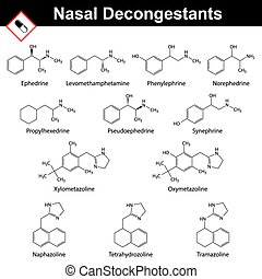 Nasal decongestant agents - structural chemical formulas,...