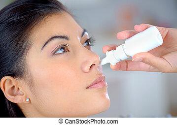 Nasal spray to help a cold