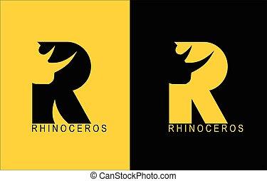 nashörner, alphabet., rhinoceros., typography., r, rhino., r.
