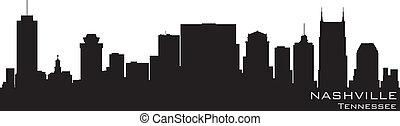 nashville, 詳細, 黑色半面畫像, 田納西, 矢量, skyline.
