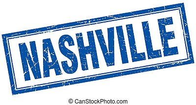 Nashville blue square grunge stamp on white