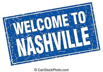 Nashville blue square grunge welcome to stamp