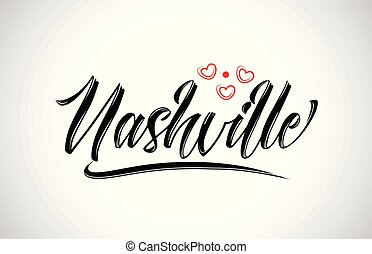 nashville city text design with red heart typographic icon design suitable for touristic promotion