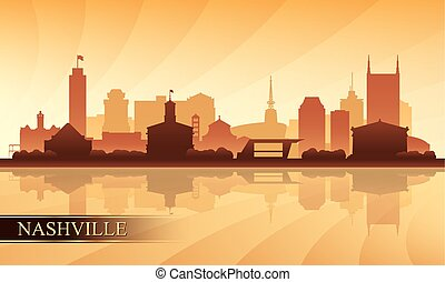 Nashville city skyline silhouette background