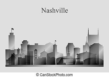 Nashville city skyline silhouette in grayscale