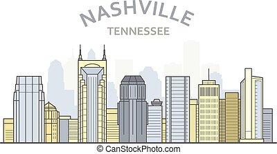 Nashville cityscape, Tennessee - city panorama of Nashville, skyline of downtown