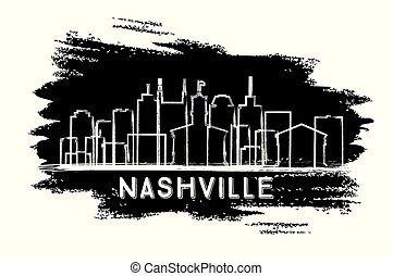nashville, dessiné, ville, silhouette., tennessee, horizon, sketch., main