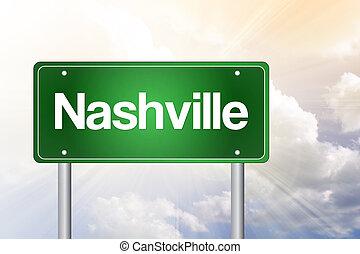 Nashville Green Road Sign, Travel Concept
