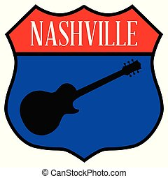 Route style traffic sign with the legend Nashville and guitar silhouette